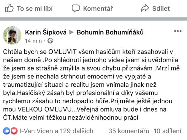 Omluva hasičům na facebooku Bohumín Bohumíňáků.