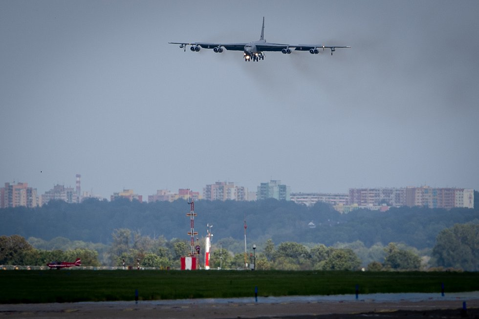 Přílet amerického bombardéru B-52 Stratofortress, 17. září 2019 v Mošnově.