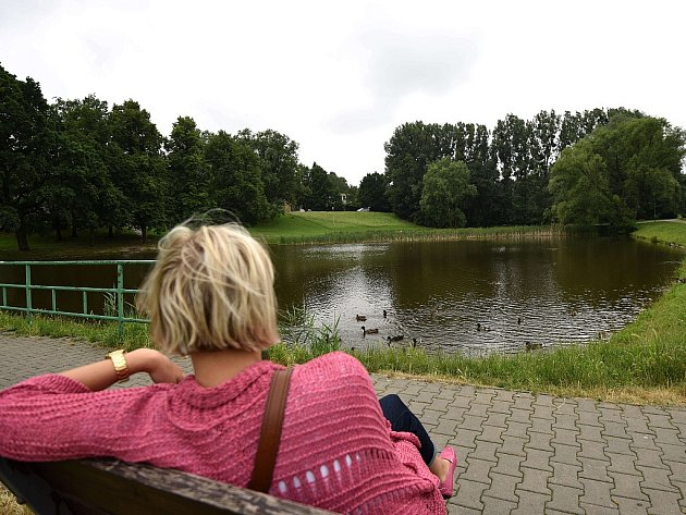 Pustkovecké údolí. Nejoblíbenějším místem parku je rybník a jeho okolí.