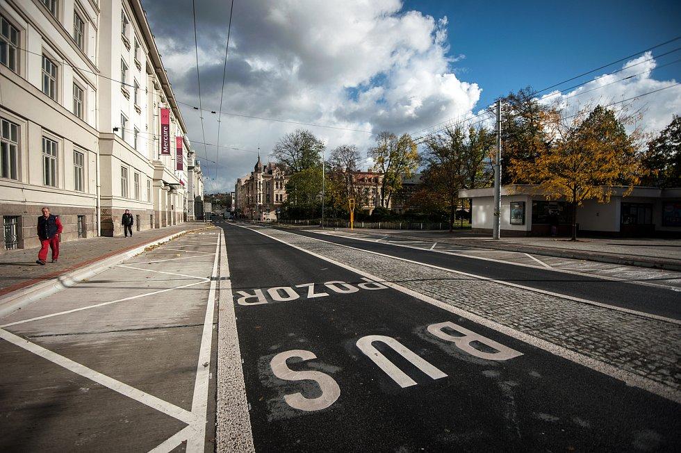 Ulice Českobratrská v Ostravě po rekonstrukci, snímek z 30. října 2017
