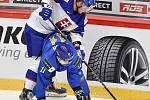 Mistrovství světa hokejistů do 20 let, skupina A: Slovensko - Kazachstán, 27. prosince 2019 v Třinci. Na snímku (zleva) Boris Cesanek a Ruslan Demin.