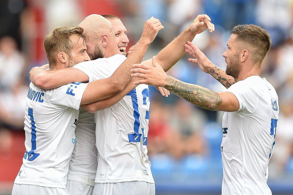 Utkání 5. kola první fotbalové ligy: FC Baník Ostrava - Bohemians 1905 , 10. srpna 2019 v Ostravě. Na snímku radost Baníku (střed) Martin Šindelář.