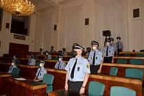 Příprava budoucích strážníku ke slibu.