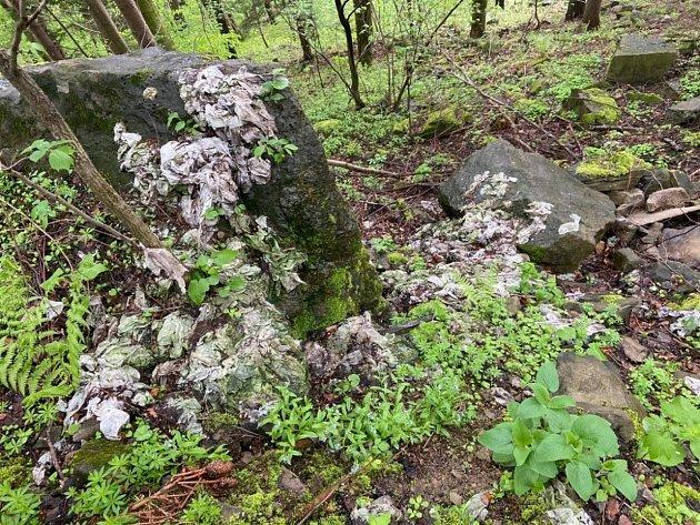 Pozůstatky zřejmě vypuštěných fekálií pod Lysou horou. Množství ubrousků ukazuje na spoustu kubíků, místo je uprostřed kopce na Mazáku.