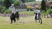 """Největším hrdinou byl v sobotu ve Lhotce u Ostravy Štefan Kmeťo. Právě on na svém bílém koni jako první """"ulovil"""" šátek a stal se vítězem letošního ročníku tradiční lidové akce Honění krále."""