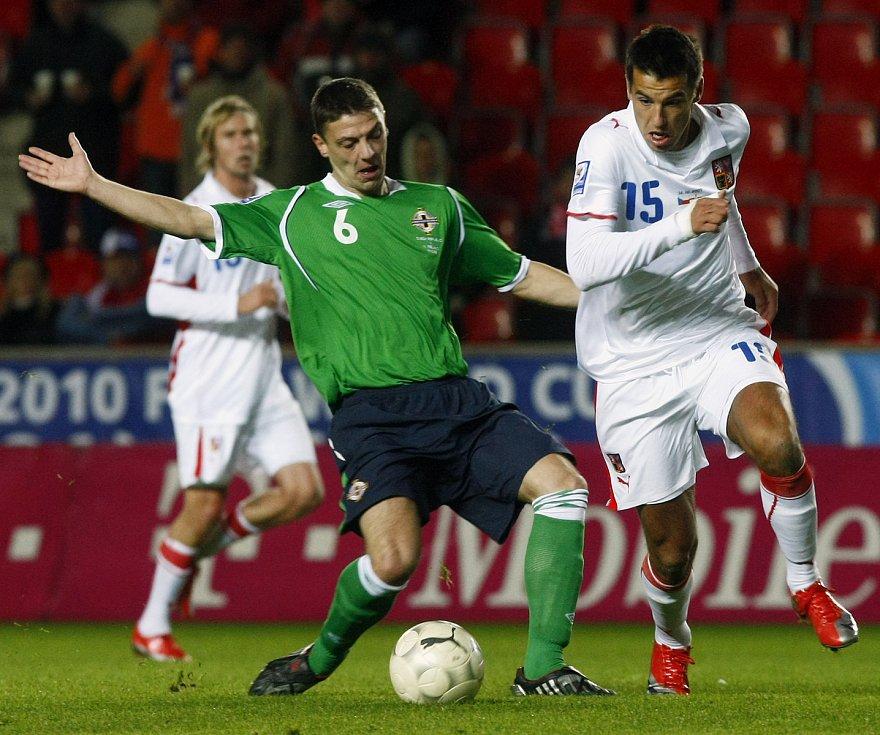 Milan Baroš během zápasu se Severním Irskem. Kvalifikace na MS 2010.