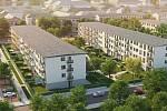 Vizualizace. Nový bytový komplex v Ostravě Rezidence Park Hrabůvka slibuje 176 bytů od 40 až po bezmála 100 metrů čtverečních.