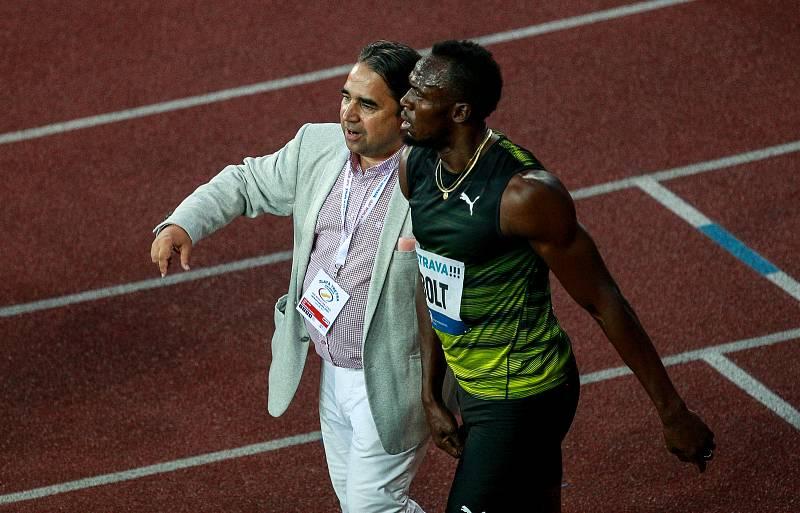 56. ročník atletického mítinku Zlatá tretra, který se konal 28. června 2017 v Ostravě. Na snímku Usain Bolt a Alfonz Juck.