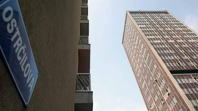 Nejvyšší ostravský panelák, dvaadvacetipatrový věžák na Ostrčilově ulici v centru města