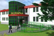 Vizualizace centra Skořápka.