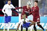Utkání 20. kola první fotbalové ligy: Baník Ostrava - Sparta Praha, 14. prosince 2019 v Ostravě. Na snímku (střed) Dame Diop a Adam Hložek.