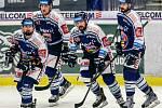 Hokejisté Vítkovic zleva Marek Hrbas, Jakub Lev, Roman Szturc, Ivan Baranka. Ilustrační foto.