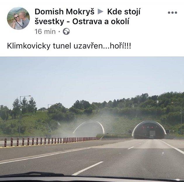 Požár automobil vklimkovickém tunelu na D1 uOstravy.