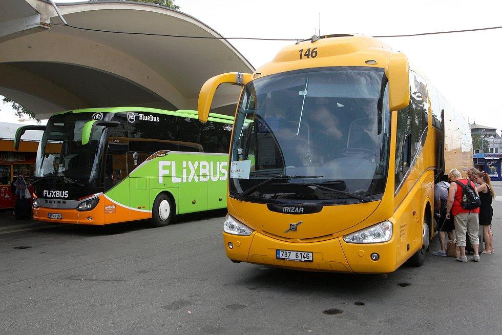 Autobusy společnosti Flixbus a Regiojet. Ilustrační foto.