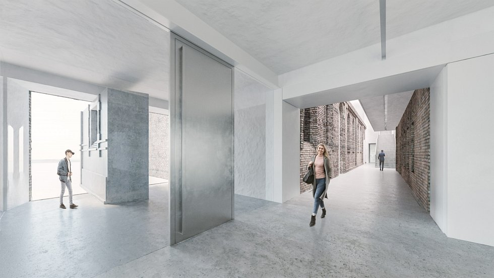 Vizualizace. V prostorách bývalých jatek vznikne výstavní prostor současného moderního umění pro galerii PLATO.