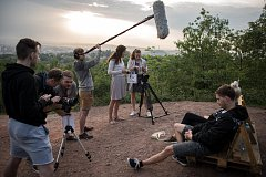 Natáčení studentského filmu Hrozny na haldě Ema, 12. května v Ostravě.