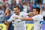 Utkaní 7. kola fotbalové FORTUNA:LIGY: FC Baník Ostrava - 1. FC Slovácko, 23. srpna 2019 v Ostravě. Na snímku (zleva) Milan Jirásek, Rudolf Reiter.