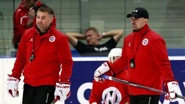 Trénink hokejistů Grodna ve Vítkovicích.
