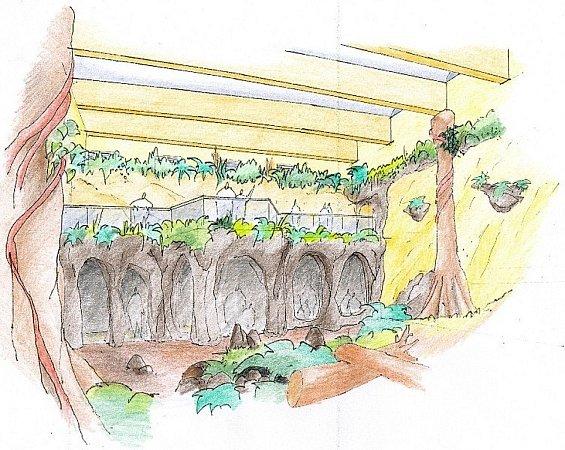 Pavilon evoluce. Nová moderní expozice pro skupinu šimpanzů vznikne přestavbou bývalého pavilonu pro vodní ptáky.