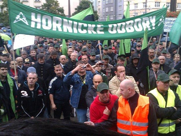 Demonstrace horníků v Ostravě