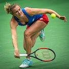 1. kolo tenisového Fed Cupu: Česká Republika - Rumunsko, 10. února 2019 v Ostravě. Zápas mezi (na snímku) Kateřina Siniaková a Mihaela Buzarnescuová.