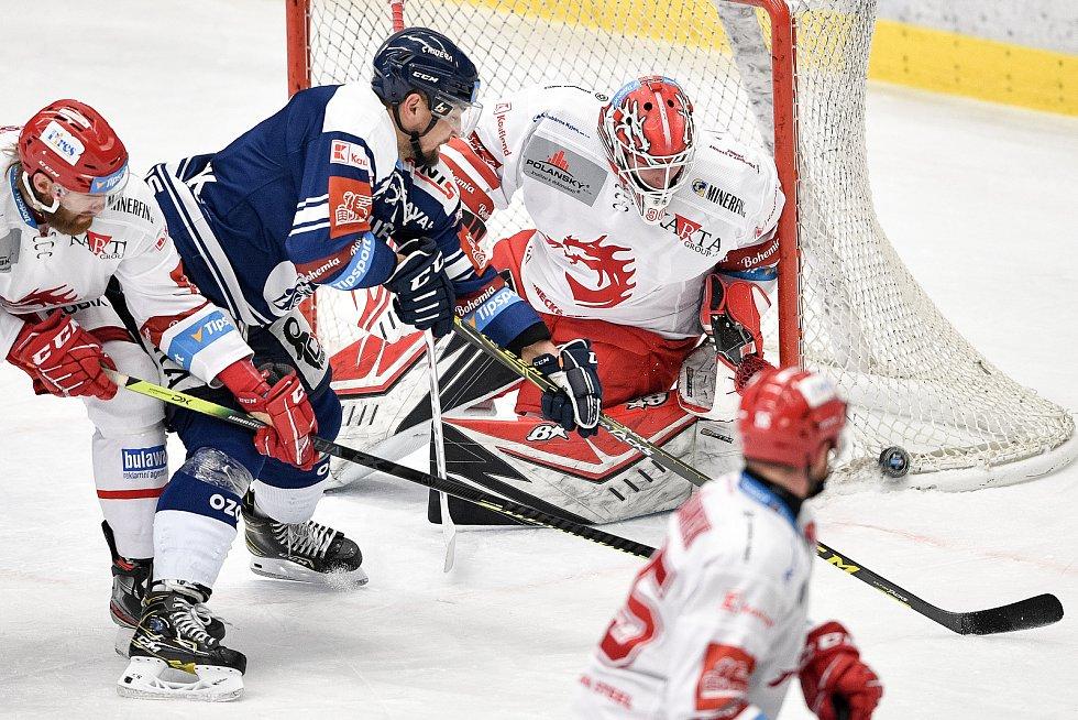 Utkání 16. kola hokejové extraligy: HC Vítkovice Ridera - HC Oceláři Třinec, 15. února 2021 v Ostravě. (střed) brankář Třince Ondřej Kacetl.