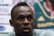 Usain Bolt na tiskové konferenci v Ostravě.