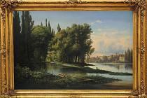 HUGO ULLIK, Soutok řek, 1862, olej na plátně (výřez).
