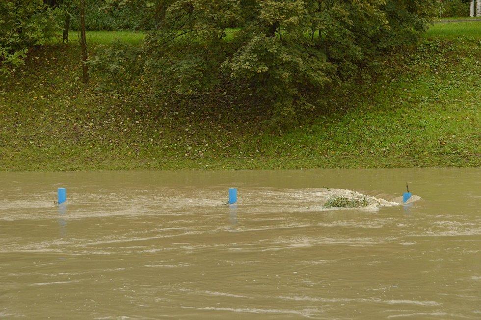 Řeka Lučina a Ostravice 14. října 2020 odpoledne.