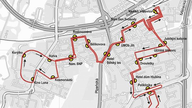 Mapka znázorňující trasu minibusu ostravským obvodem Jih, pojmenovány jsou jednotlivé zastávky.