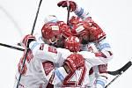 Čtvrtfinále play off hokejové extraligy - 1. zápas: HC Oceláři Třinec - HC Vítkovice Ridera, 20. března 2019 v Třinci. Na snímku radost Třince, Martin Růžička.