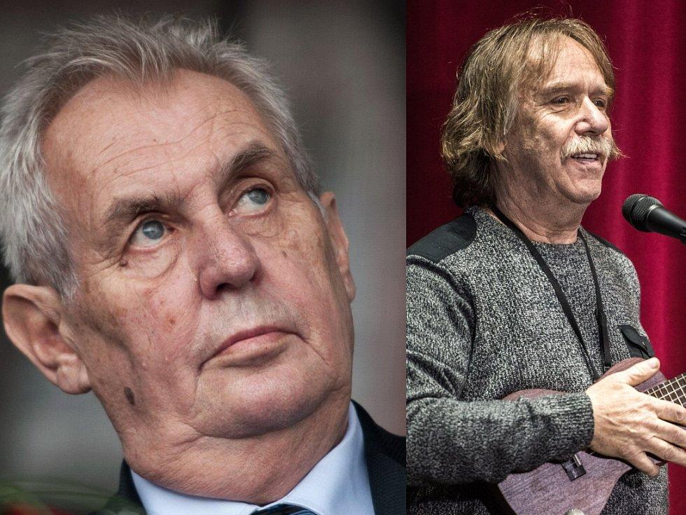 Na snímku prezident Miloš Zeman, vpravo písničkář Jaromír Nohavica.