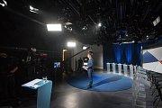 Debata kandidátů na primátora města Ostravy v České televizi, 13. září 2018 v Ostravě. Na snímku moderátor ČT Martin Řezníček.