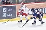 Čtvrtfinále play off hokejové extraligy - 1. zápas: HC Oceláři Třinec - HC Vítkovice Ridera, 20. března 2019 v Třinci. Na snímku (zleva) Aron Chmielewski a Šimon Stránský.