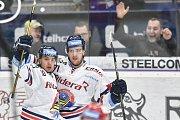 Utkání 34. kola hokejové extraligy: HC Vítkovice Ridera - HC Oceláři Třinec, 12. ledna 2019 v Ostravě. Na snímku (zleva) Jozef Baláž a Lukáš Kucsera.