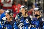 Mistrovství světa hokejistů do 20 let, zápas o 3. místo: Švédsko - Finsko, 5. ledna 2020 v Ostravě. Na snímku smutek hráčů Finska.
