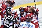 Utkání 9. kola hokejové extraligy: HC Oceláři Třinec - HC Sparta Praha, 12. října 2018 v Třinci. Na snímku (střed) Jan Piskáček a Tomáš Marcinko.
