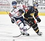 26. kolo hokejové extraligy: HC Vítkovice Ridera - HC litvínov, 9. prosince 2018 v Ostravě. Na snímku (zleva) Radoslav Tybor a Porseland Mathias.