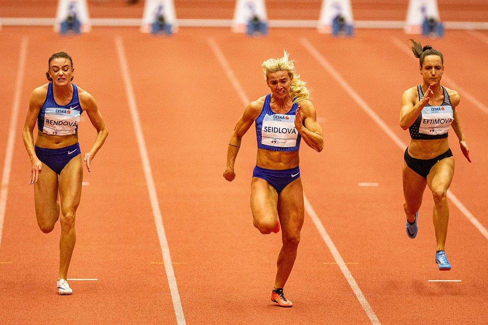 Mezinárodní halový atletický mítink Czech Indoor Gala 2020, 5. února 2020 v Ostravě. Běh 60 m (zleva) Nikola Bendová z Česka, Klára Seidlová z Česka a Anna Eftimová z Bulharska.