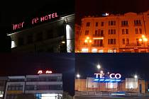 Te co, NG, Hotel perial, B ťa, Mer re Hotel, Si me s... Budovy v Ostravě se často potýkají s poruchami reklamních nápisů.
