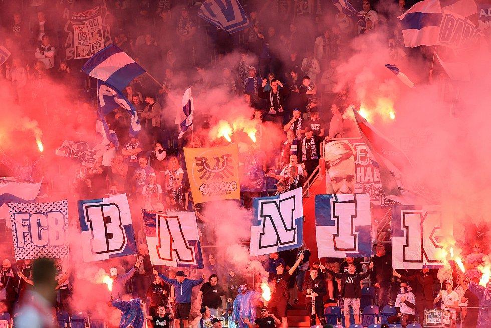 Utkání 4. kola první fotbalové ligy: FC Baník Ostrava - FK Pardubice, 19. září 2020 v Ostravě. Fanoušci (kotel).
