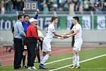 Semifinále fotbalového poháru MOL Cupu: FC Baník Ostrava - Bohemians Praha 1905, 24. dubna 2019 v Ostravě. Na snímku (zleva) Artem Meshchaninov a Robert Hrubý.
