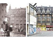 Smetanovo náměstí po srpnovém bombardování spojeneckými letadly v roce 1944 a dnes.