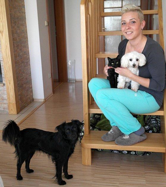 Petra Sekerová doma vHorních Datyních poskytuje dočasný azyl psům a kočkám.