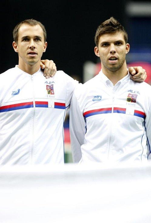 Davis Cup v Ostravě. Lukáš Rosol (vlevo) a Jiří Veselý.