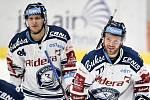 43. kolo hokejové extraligy mezi HC Vítkovice Ridera - HC Rytíři Kladno v Ostravě dne 2. února 2020. Na snímku (zleva) Jan Schleiss z Vítkovic a Jan Štencel z Vítkovic.