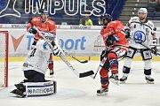 Utkání 4. kola hokejové extraligy: HC Vítkovice Ridera - HC Škoda Plzeň, 23. září 2018 v Ostravě. Na snímku (vlevo) Miltchakov Mitja Dmitri a Mahbod Samson.