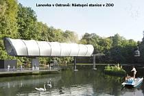 Vizualizace lanové dráhy v Ostravě, nástupní stanice ZOO.