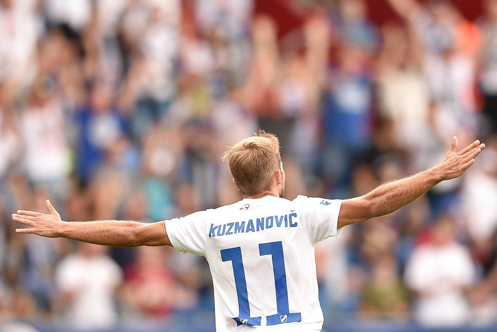 Utkání 5. kola první fotbalové ligy: FC Baník Ostrava - Bohemians 1905 , 10. srpna 2019 v Ostravě. Na snímku radost Nemanja Kuzmanovič.
