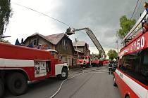 Požár rodinného domu v Petřvaldu.